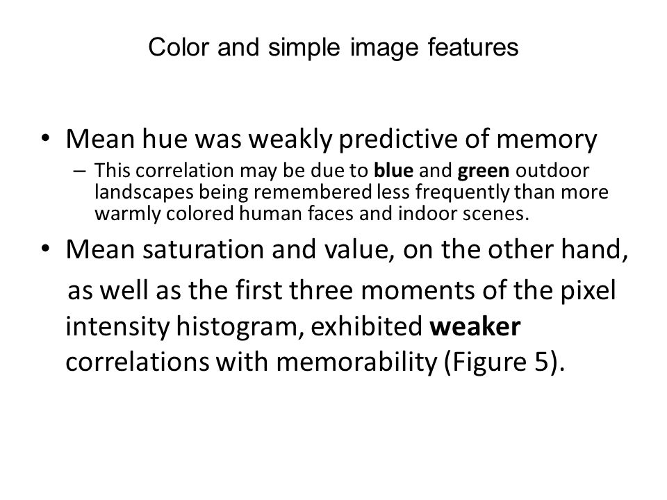 Color and simple image features