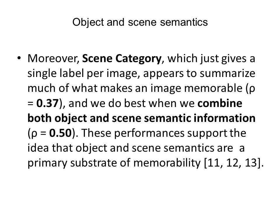 Object and scene semantics