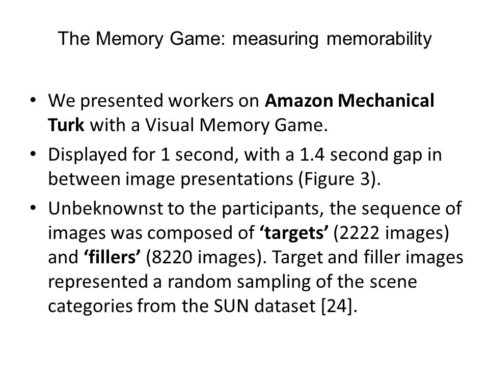 The Memory Game: measuring memorability