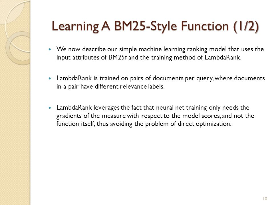 Learning A BM25-Style Function (1/2)
