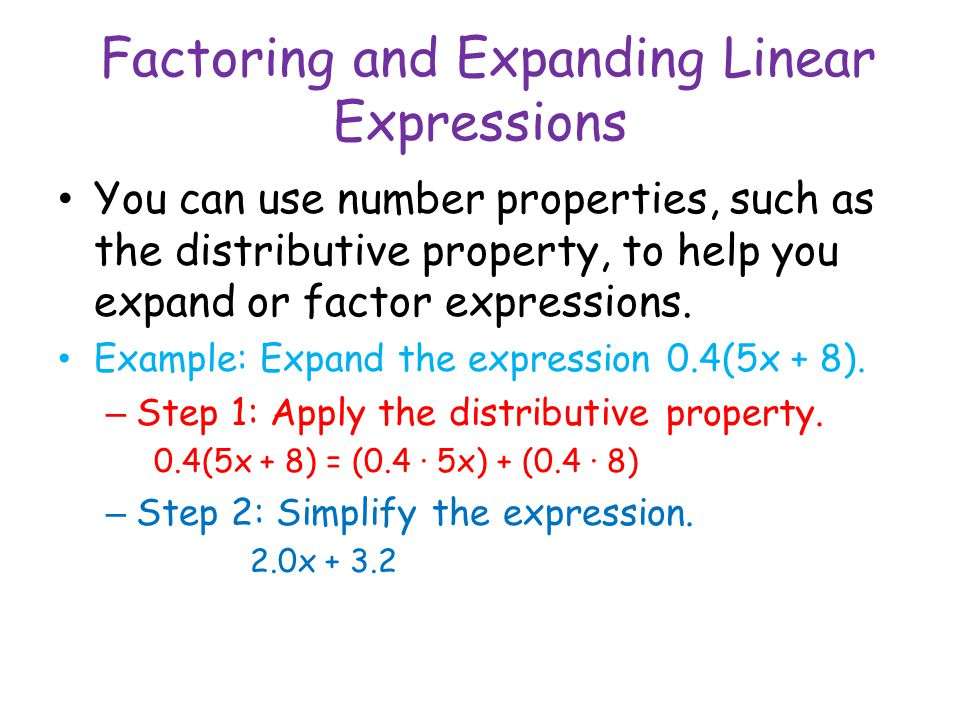 Factoring and Expanding Linear Expressions
