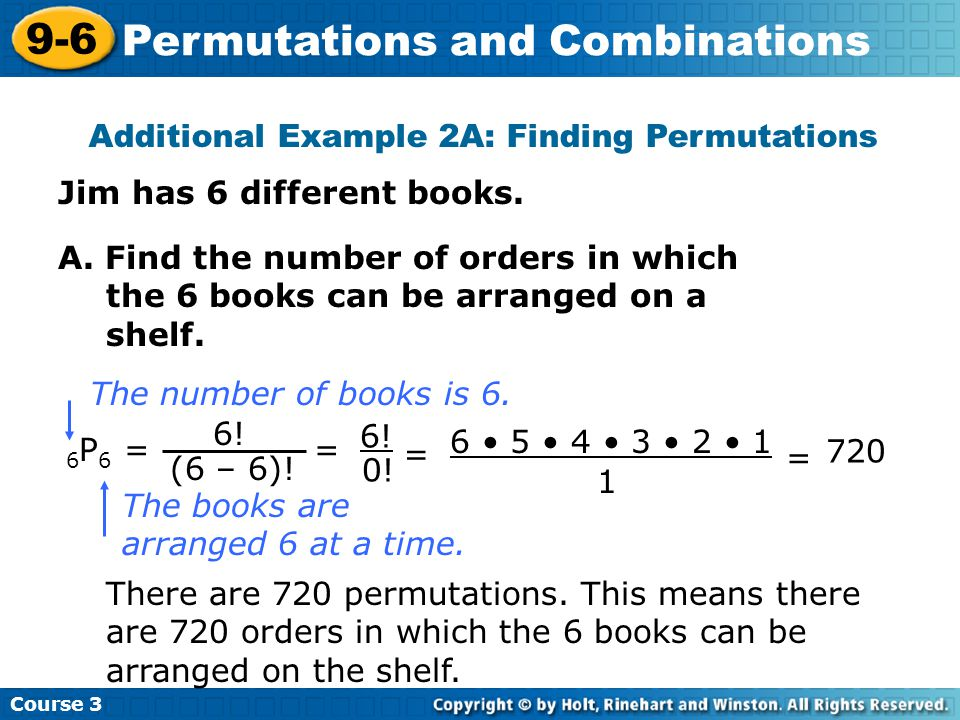Additional Example 2A: Finding Permutations