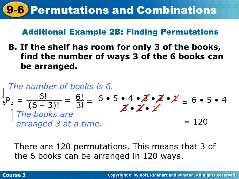 Additional Example 2B: Finding Permutations