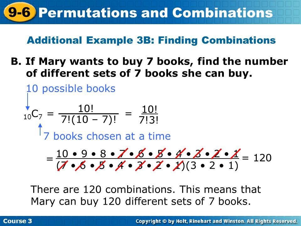 Additional Example 3B: Finding Combinations