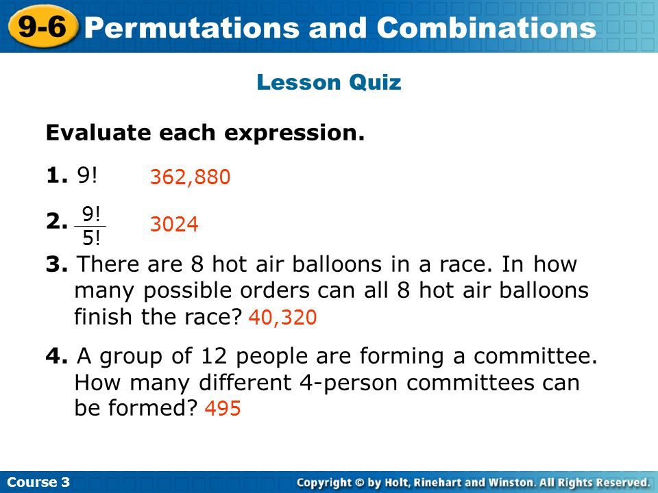 Permutations and Combinations Insert Lesson Title Here