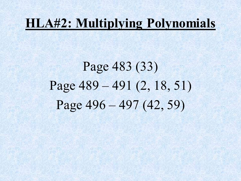 HLA#2: Multiplying Polynomials