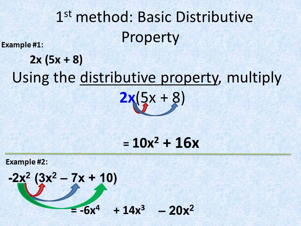 1st method: Basic Distributive Property