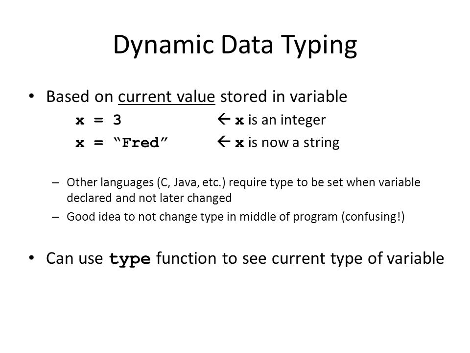 Dynamic Data Typing Based on current value stored in variable