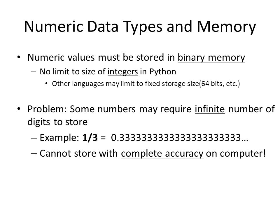Numeric Data Types and Memory