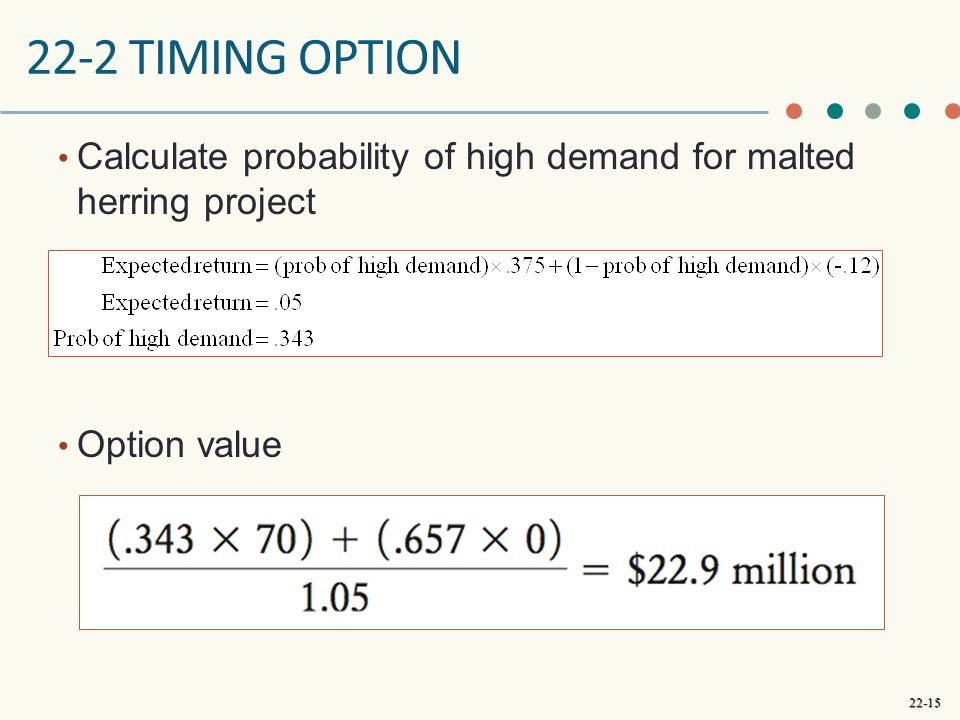 22-2 Timing Option Calculate probability of high demand for malted herring project. Option value.