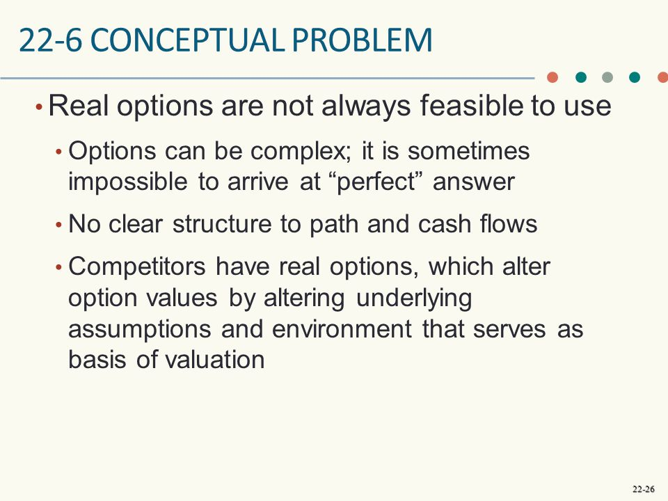 22-6 conceptual problem Real options are not always feasible to use