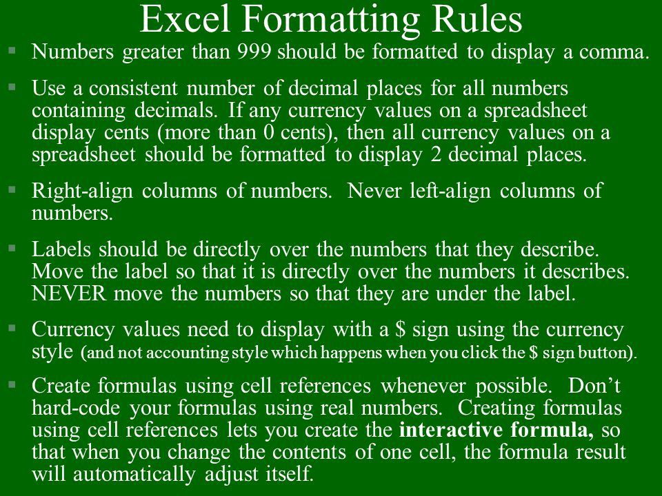 Excel Formatting Rules