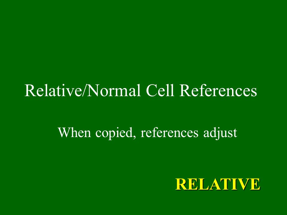 Relative/Normal Cell References