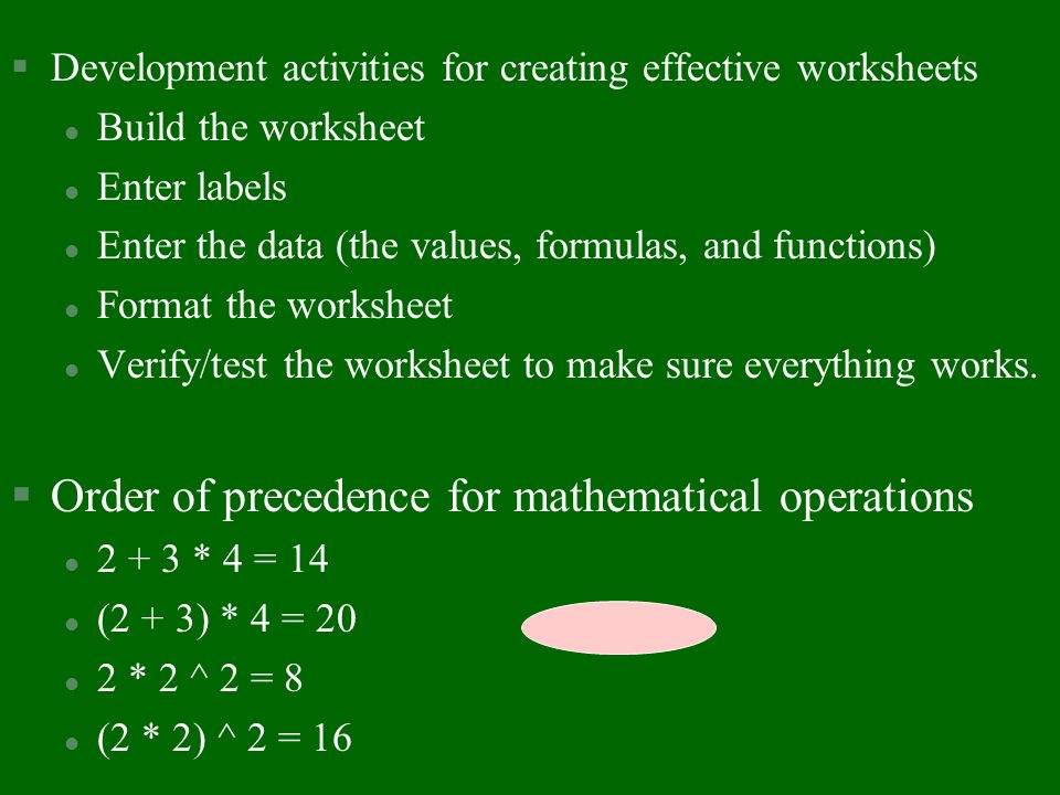 Order of precedence for mathematical operations