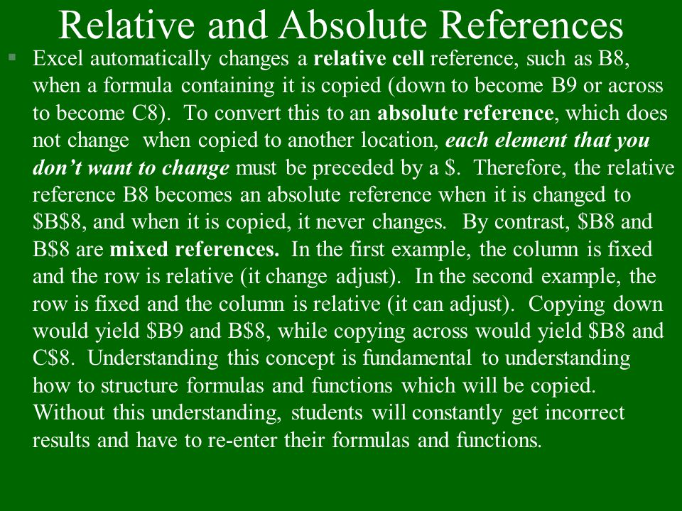 Relative and Absolute References