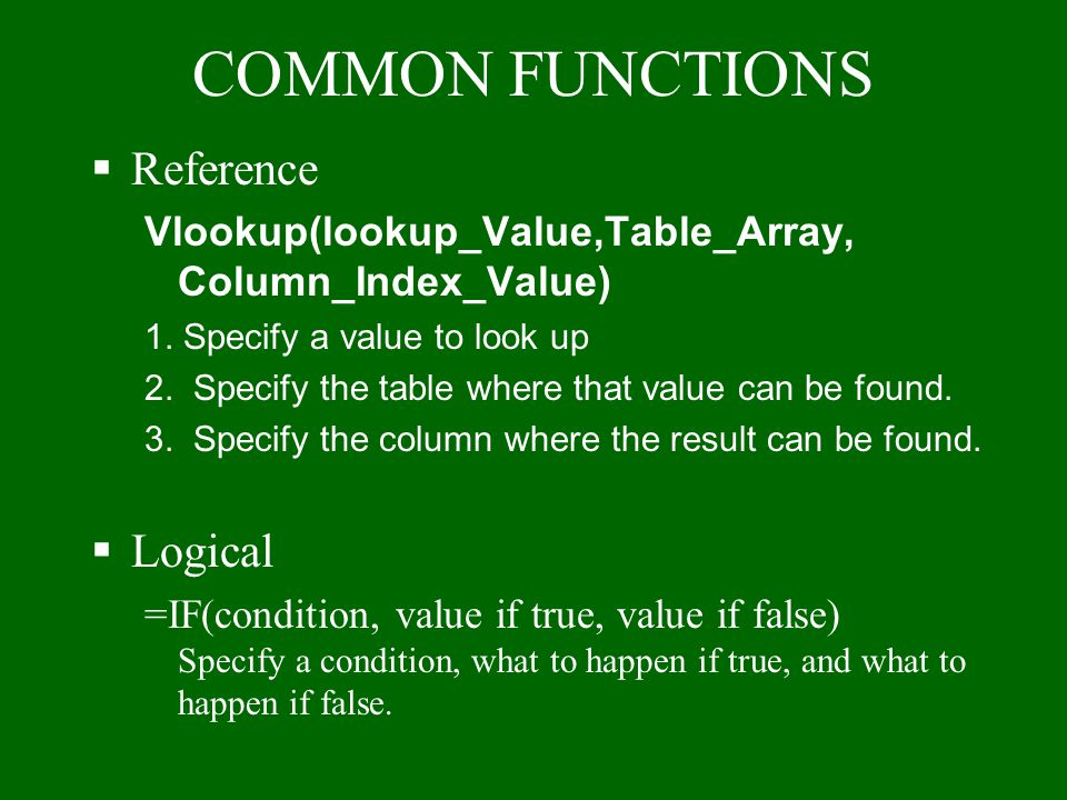 COMMON FUNCTIONS Reference Logical