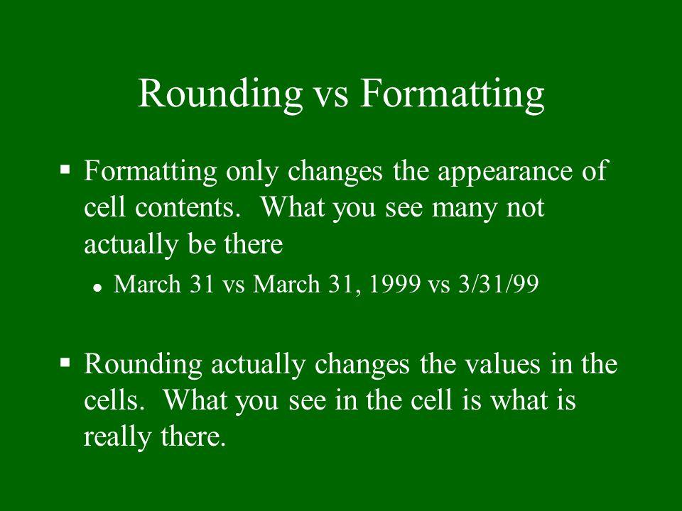 Rounding vs Formatting