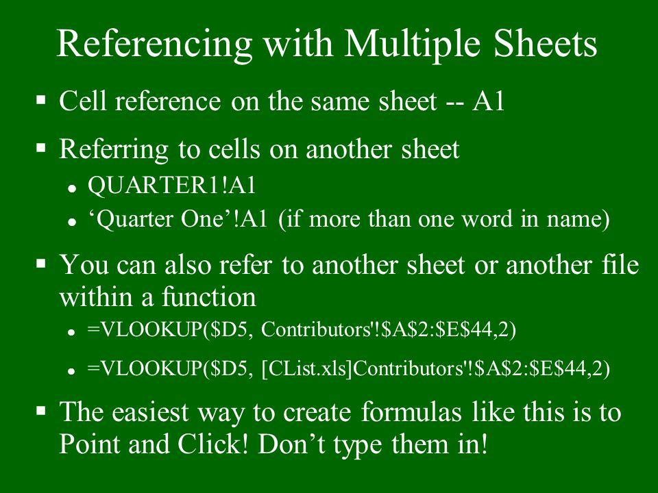Referencing with Multiple Sheets