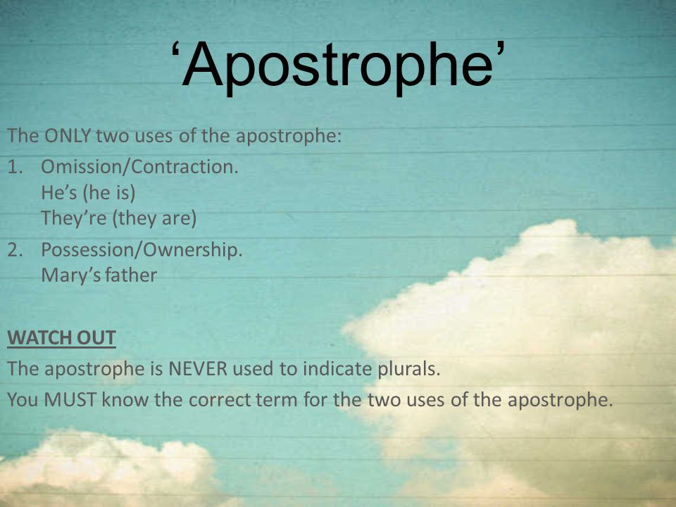 'Apostrophe' The ONLY two uses of the apostrophe: