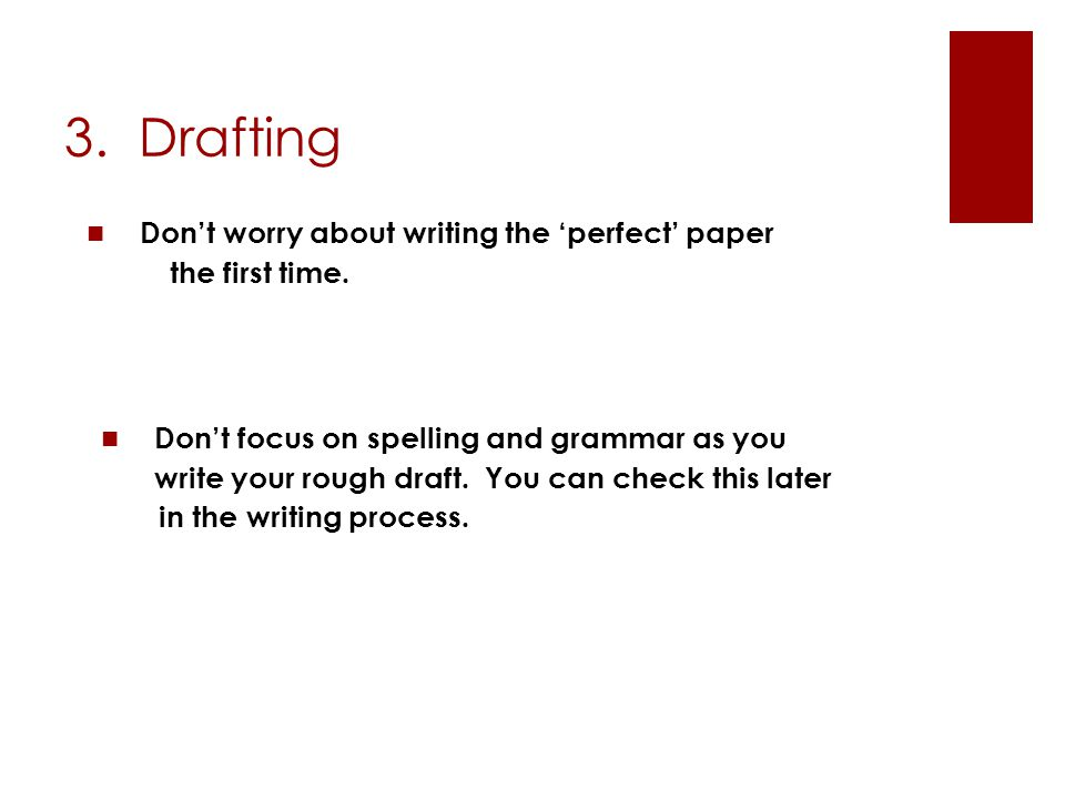 3. Drafting Don't worry about writing the 'perfect' paper