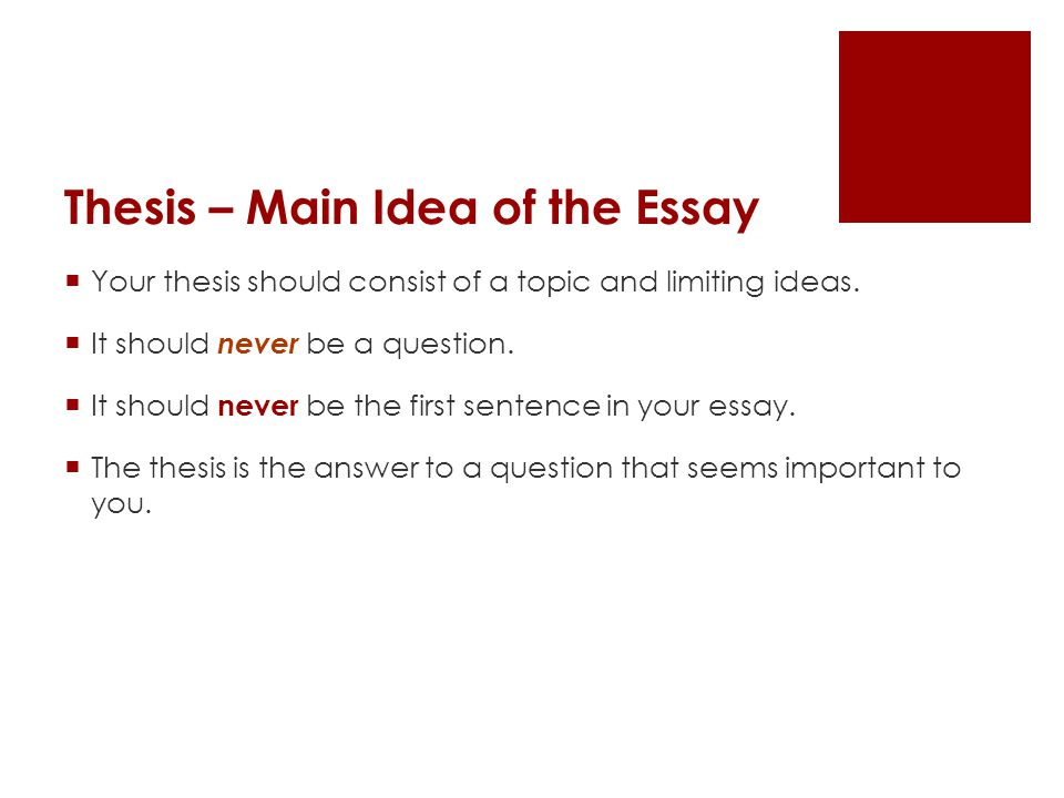 Thesis – Main Idea of the Essay