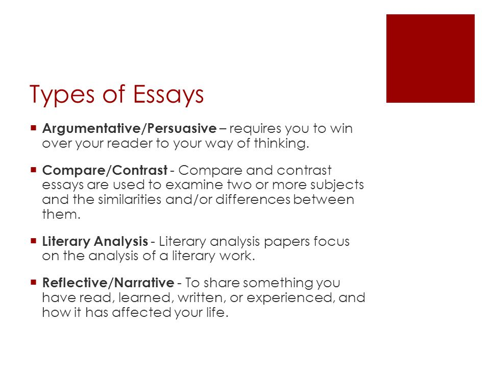 Types of Essays Argumentative/Persuasive – requires you to win over your reader to your way of thinking.
