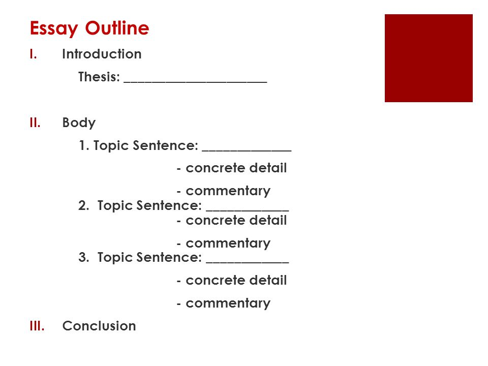 Essay Outline Introduction Thesis: _____________________ Body