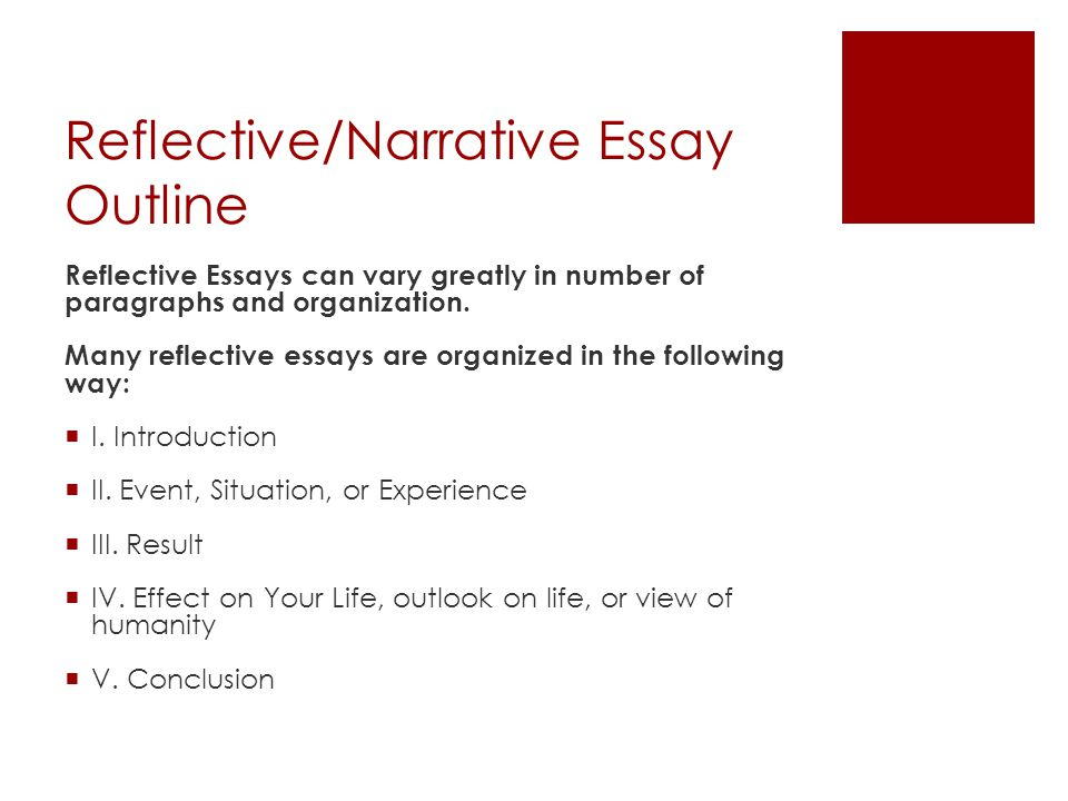 reflective narrative essay Below we offer two examples of thoughtful reflective essays that effectively and substantively capture the author's growth over time.
