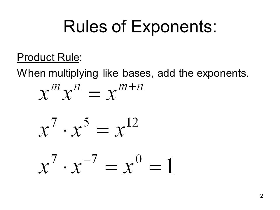 Rules of Exponents: Product Rule: