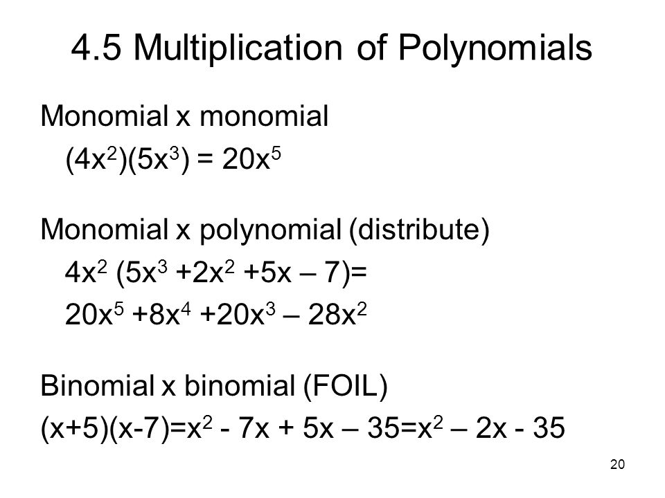 4.5 Multiplication of Polynomials
