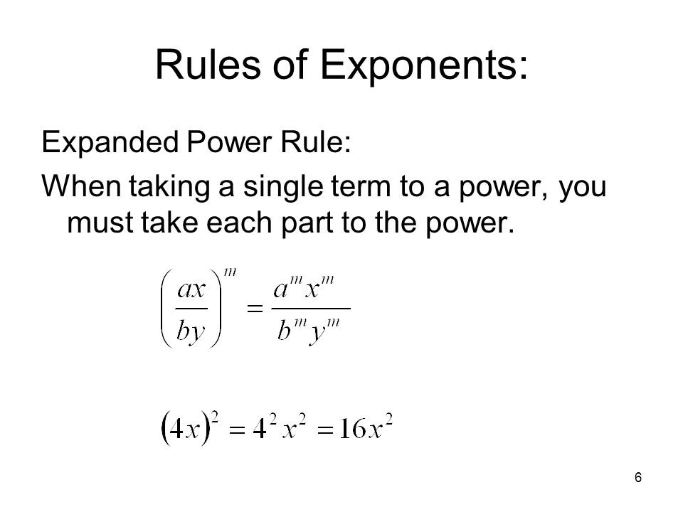 Rules of Exponents: Expanded Power Rule: