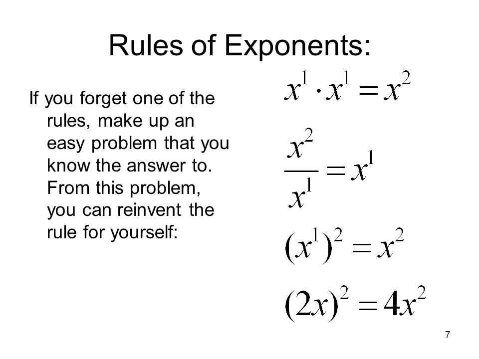 Rules of Exponents: