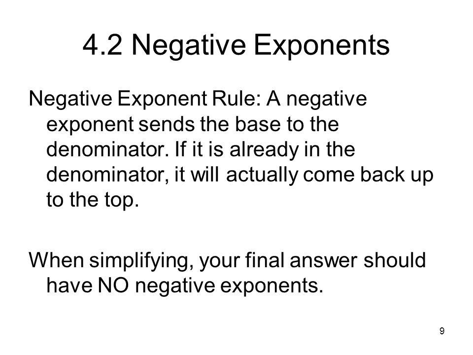 4.2 Negative Exponents