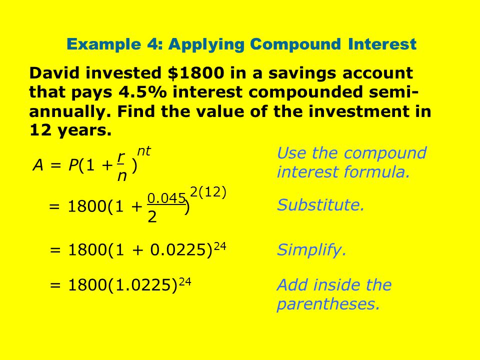 Example 4: Applying Compound Interest