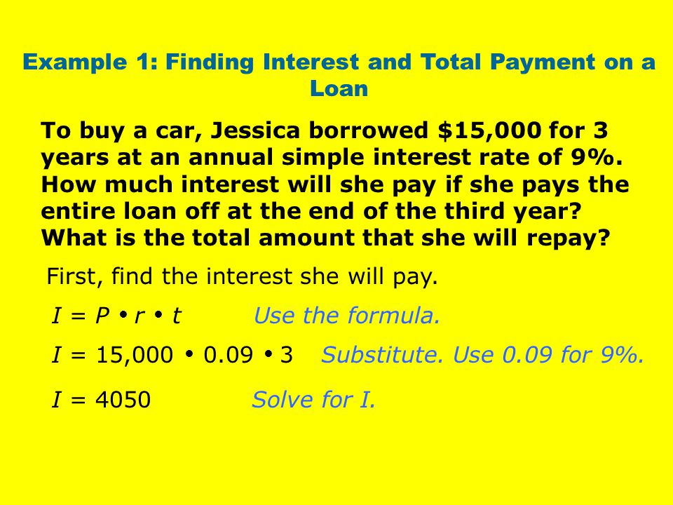 Example 1: Finding Interest and Total Payment on a Loan