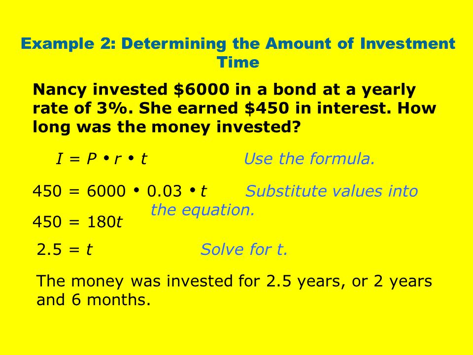 Example 2: Determining the Amount of Investment Time
