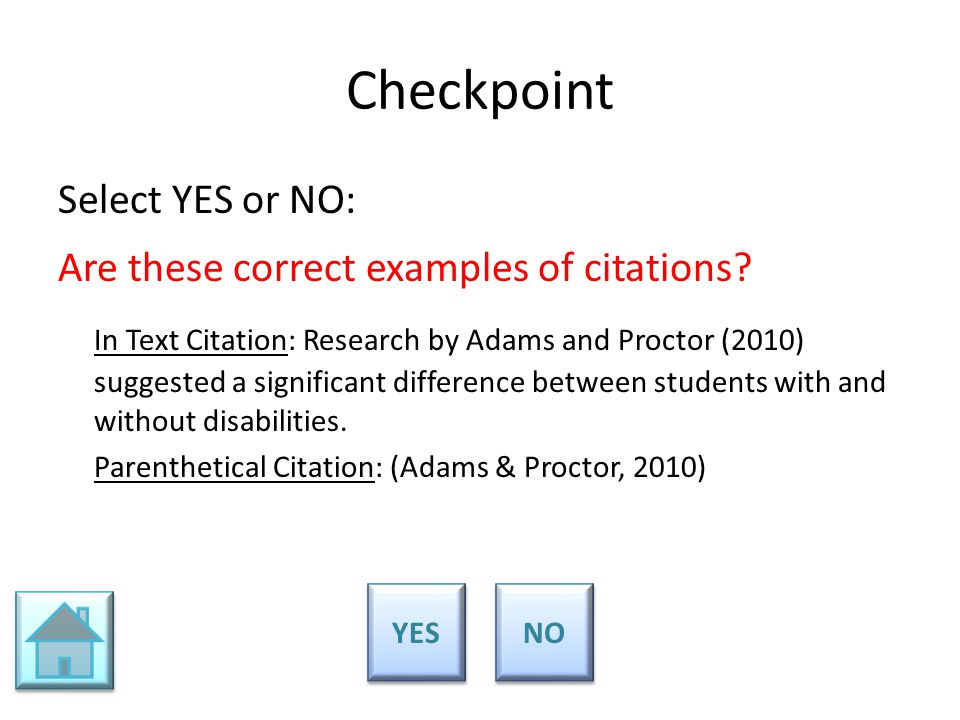 Checkpoint Select YES or NO: Are these correct examples of citations