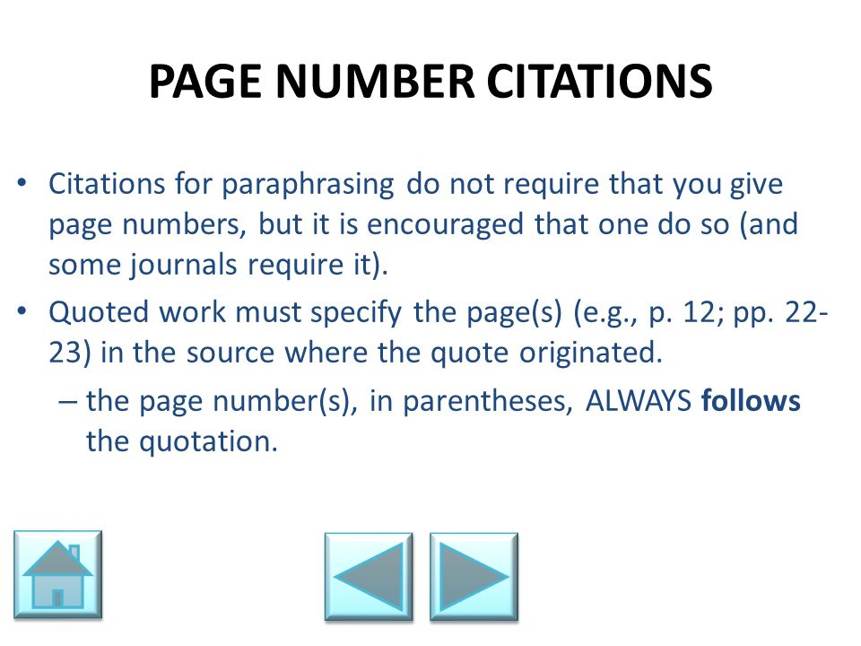 PAGE NUMBER CITATIONS