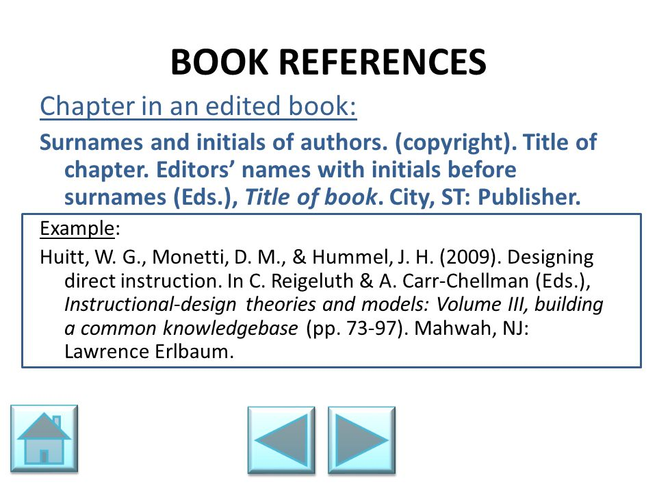 BOOK REFERENCES Chapter in an edited book: