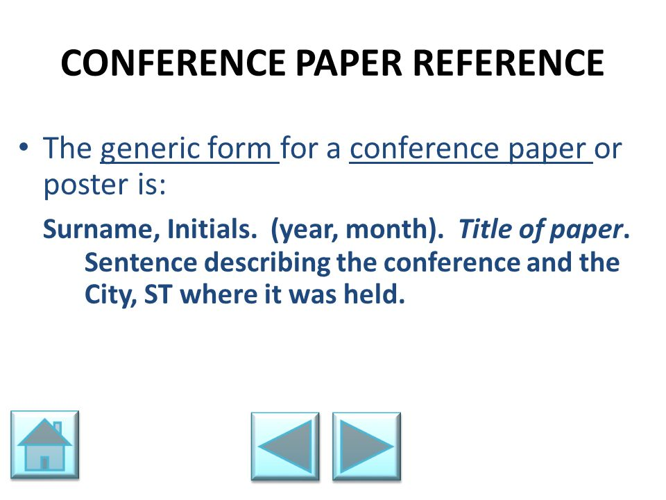 CONFERENCE PAPER REFERENCE