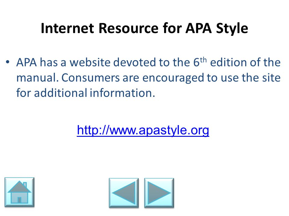 Internet Resource for APA Style