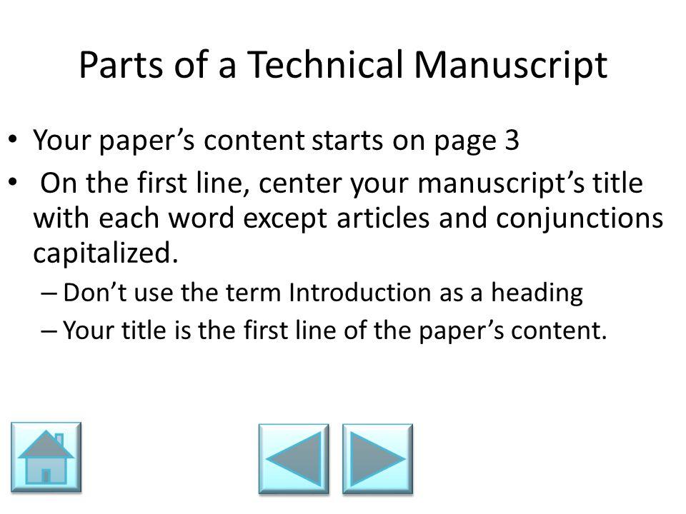 Parts of a Technical Manuscript