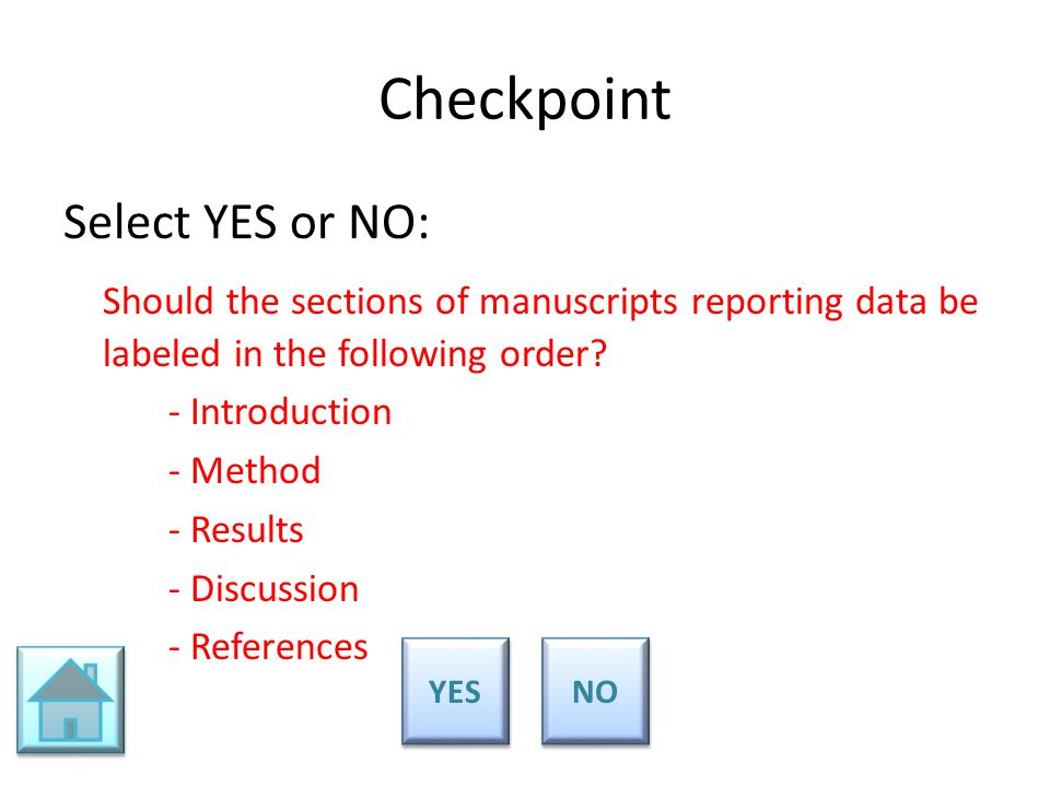 Checkpoint Select YES or NO: