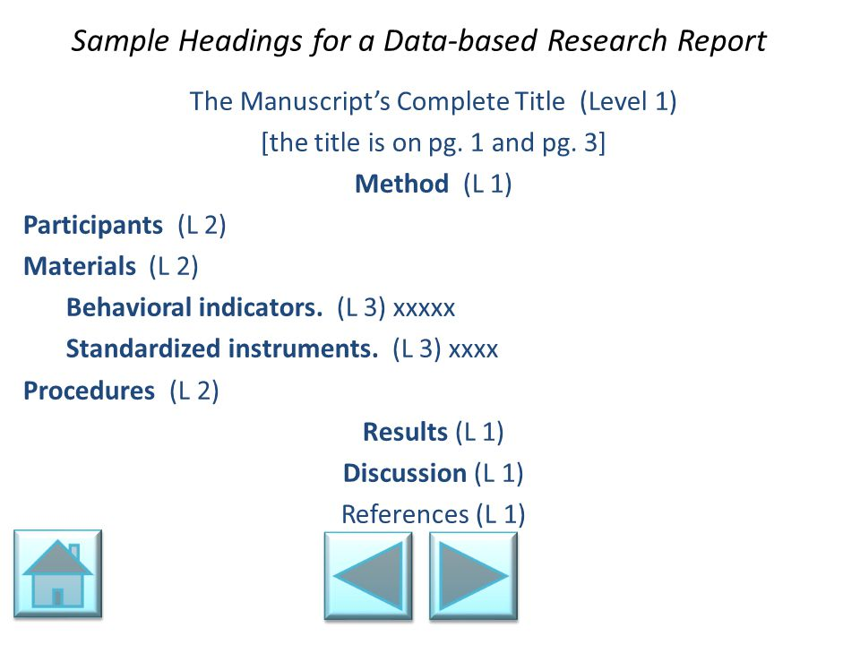 Sample Headings for a Data-based Research Report