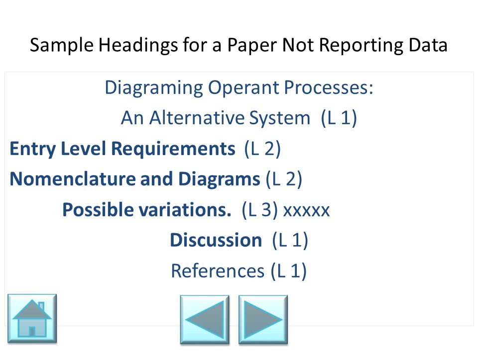 Sample Headings for a Paper Not Reporting Data