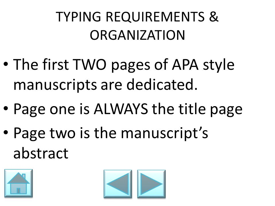 TYPING REQUIREMENTS & ORGANIZATION