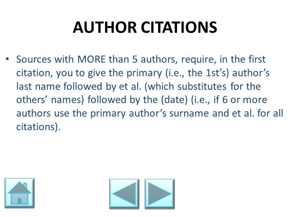 AUTHOR CITATIONS