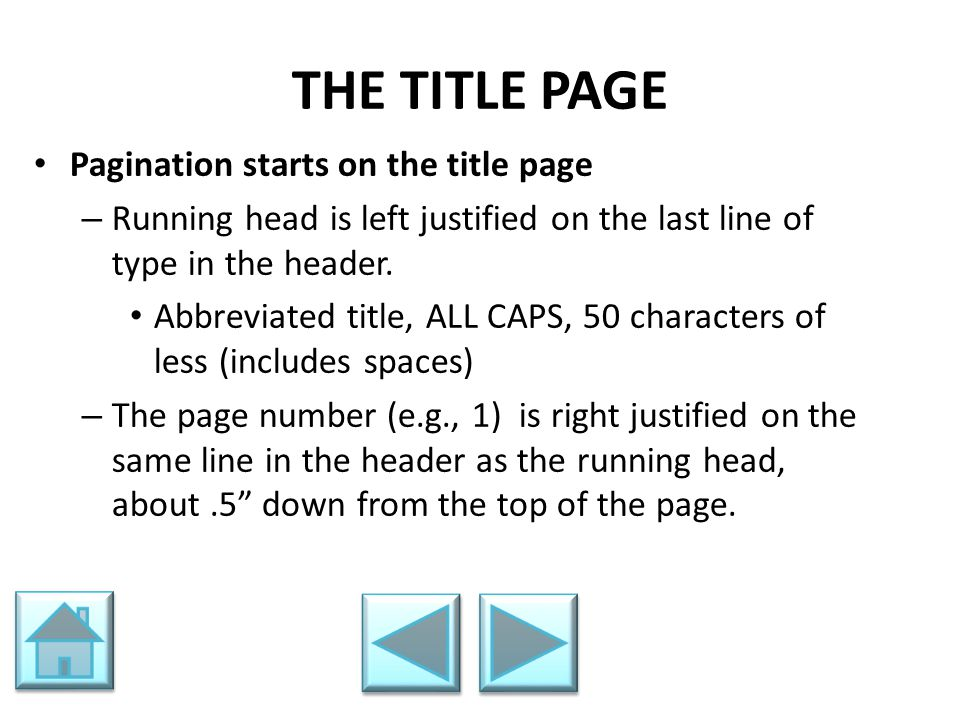 THE TITLE PAGE Pagination starts on the title page