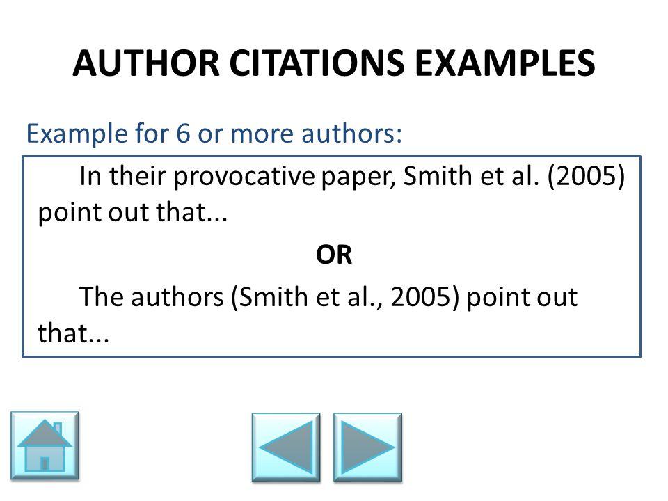 AUTHOR CITATIONS EXAMPLES
