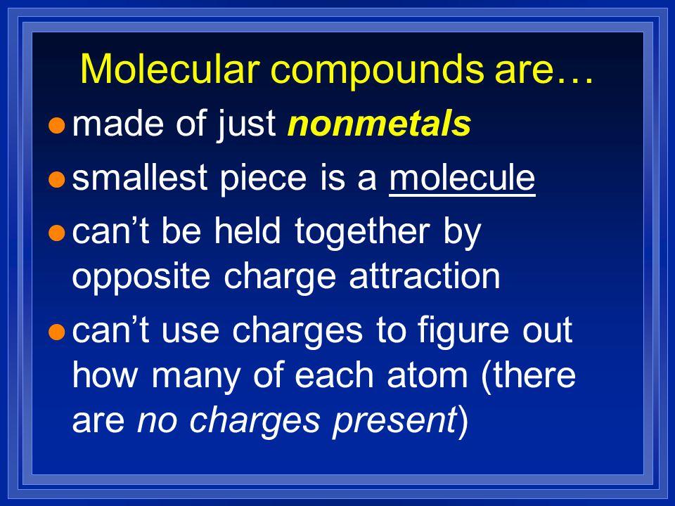 Molecular compounds are…